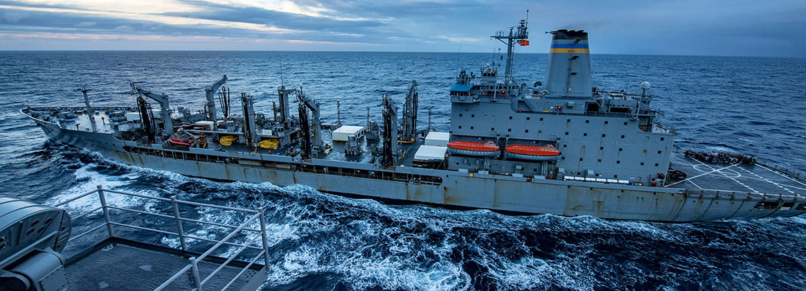 PACIFIC OCEAN (Jan. 9, 2018) - The fleet replenishment oiler USNS Yukon (T-AOE 202) participates in a fueling-at-sea with Nimitz-class aircraft carrier USS Carl Vinson (CVN 70). The Carl Vinson Strike Group is currently operating in the Pacific as part of a regularly scheduled deployment.