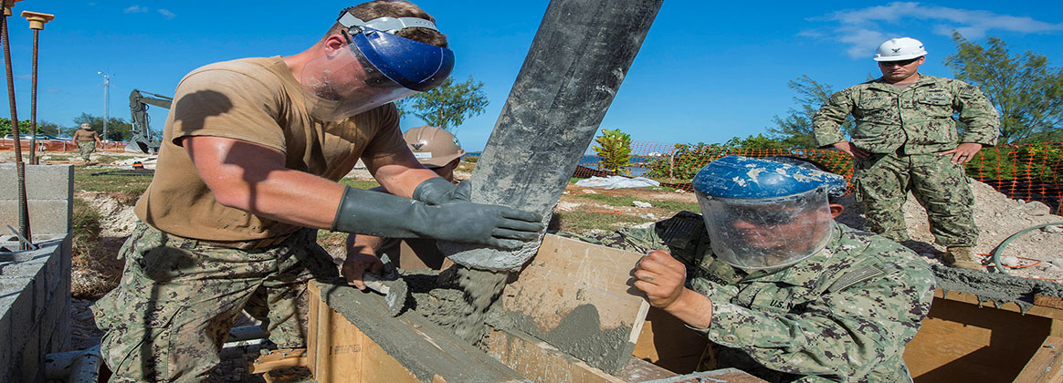 POLARIS POINT, Guam (Jan. 11, 2018) - U.S. Navy Steelworker 2nd Class Dylan Beveridge, assigned to Naval Mobile Construction Battalion (NMCB) 133, secures rebar at a work site for a restroom and shower facility at Polaris Point. NMCB-133 is forward deployed, ready to support Major Combat Operations, Humanitarian Assistance and Disaster Relief operations. They provide general engineering and civil support to Navy, Marine Corps and joint operational forces.