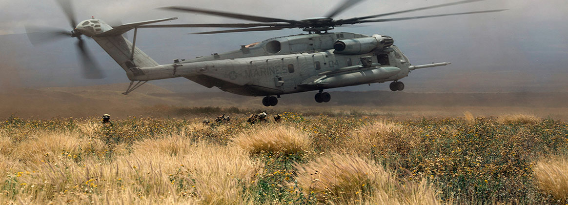 POHAKULOA TRAINING AREA, Hawaii (July 12, 2018) - A U.S. Marine Corps CH-53E Super Stallion helicopter takes off after dropping off Marines during a noncombatant evacuation operation (NEO) training event as part of Rim of the Pacific (RIMPAC) exercise at Pohakuloa Training Area.  A NEO is conducted to evacuate citizens whose lives are in danger. RIMPAC provides high-value training for task-organized, highly capable Marine Air-Ground Task Force and enhances the critical crisis response capability of U.S. Marines in the Pacific. Twenty-five nations, 46 ships, five submarines, about 200 aircraft and 25,000 personnel are participating in RIMPAC from June 27 to Aug. 2 in and around the Hawaiian Islands and Southern California.