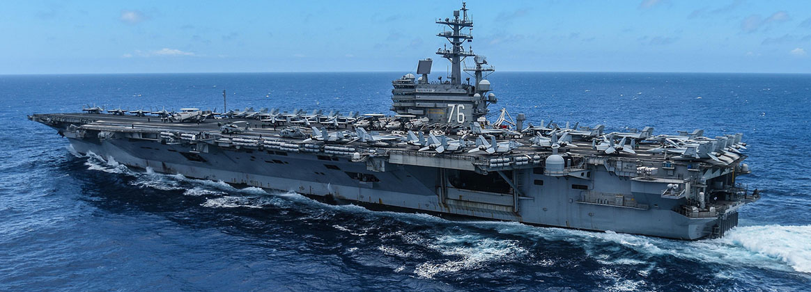 PHILIPPINE SEA (July 15, 2018) - The Navy's forward-deployed aircraft carrier USS Ronald Reagan (CVN 76) operates in the Philippines Sea during summer patrol. Ronald Reagan, the flagship of Carrier Strike Group 5, provides a combat-ready force that protects and defends the collective maritime interests of its allies and partners in the Indo-Pacific region.