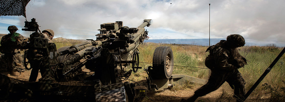 POHAKULOA TRAINING AREA, Hawaii (July 17, 2018) - U.S. Marines with Bravo Battery, 1st Battalion, 12th Marine Regiment, fire a M777 towed 155 mm howitzer during live-fire training as part of Rim of the Pacific (RIMPAC) exercise at Pohakuloa Training Area.  RIMPAC provides high-value training for task-organized, highly capable Marine Air-Ground Task Force and enhances the critical crisis response capability of U.S. Marines in the Pacific. Twenty-five nations, 46 ships, five submarines, about 200 aircraft and 25,000 personnel are participating in RIMPAC from June 27 to Aug. 2 in and around the Hawaiian Islands and Southern California.