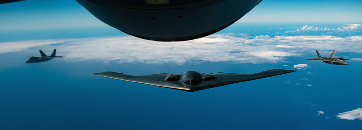 JOINT BASE PEARL HARBOR-HICKAM, Hawaii (Jan. 15, 2019) - A B-2 Spirit bomber deployed from Whiteman Air Force Base, Missouri, conducts aerial refueling near Joint Base Pearl Harbor-Hickam (JBPHH), Hawaii, during an interoperability training mission.  The aircraft are flying in support of a U.S. Strategic Command Bomber Task Force mission. U.S. Strategic Command's Bomber Forces regularly conduct combined theater security cooperation engagements with allies and partners, demonstrating the U.S. capability to command, control and conduct bomber missions across the globe.