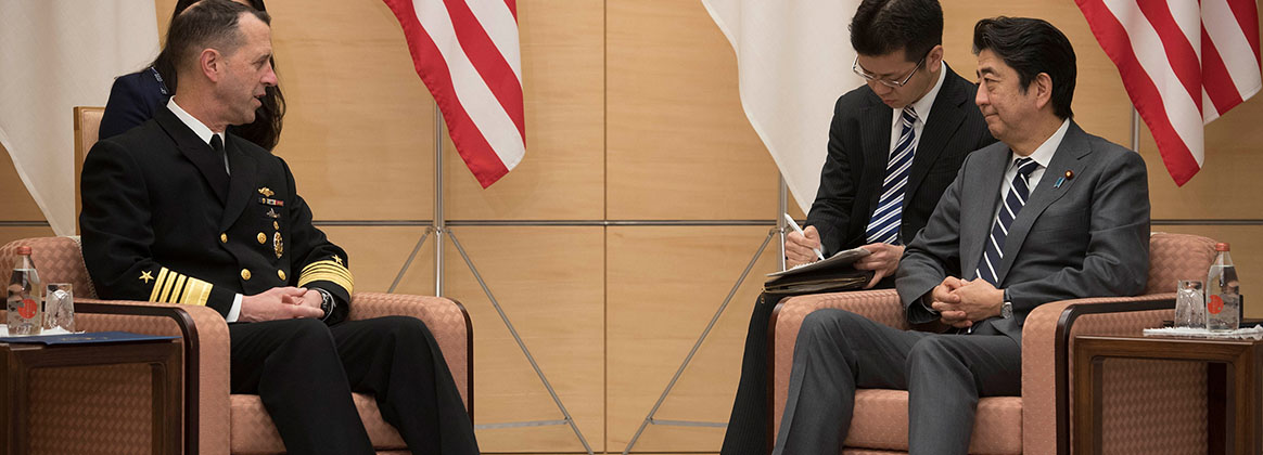 TOKYO, Japan (Jan. 17, 2019) - Chief of Naval Operations (CNO) Adm. John Richardson, left, met with Japanese Prime Minister Shinzo Abe to further strengthen military ties between the United States and Japan. Richardson reaffirmed the U.S. Navy's commitment to maintaining security cooperation with the Japan Maritime Self-Defense Force (JMSDF) and broadening and strengthening global maritime awareness and access with Japan and the region. The U.S. Navy and the JMSDF routinely conduct combined maritime exercises and operate together to promote peace and security in the Indo-Pacific region.