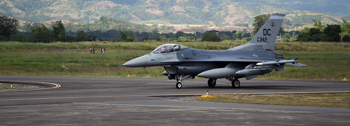 JOINT BASE PEARL HARBOR-HICKAM, Hawaii (Jan. 18, 2019) - A U.S Air Force F-16 Fighting Falcon deployed from Kunsan Air Base, Korea, taxis on the flightline to kickoff the Bilateral Air Contingent Exchange-Philippines (BACE-P) at Cesar Basa Air Base, Philippines. This is the seventh iteration of BACE-P established by U.S. Pacific Command and executed by Headquarters Pacific Air Forces. Incorporating F-16s in this iteration of operations will allow for air-to-air and air-to-ground interfly training with the Philippine Air Force's FA-50s.