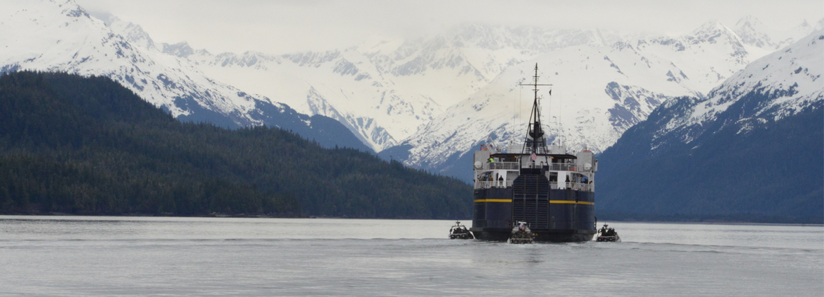 CORDOVA, ALASKA (April 10, 2019) - Maritime Security Response Team West members participate in a full-scale exercise, called Operation Pelagic Strike, to train as part of a multiagency simulated terrorist situation aboard a ferry in Cordova, Alaska, April 10, 2019.  MSRT West personnel trained with Alaska FBIâs Joint Terrorism Task Force to ensure that if a threat were encountered in Alaska that the systems were in place to keep the public safe.