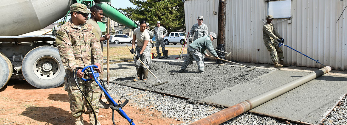 KUNSAN AIR BASE, Republic of Korea (April 17, 2019) - Members from the 176th Civil Engineer Squadron, Joint Base Elmendorf-Richardson, Alaska, create a concrete pad for the 8th Civil Engineer Squadron at Kunsan Air Base, Republic of Korea, April 17, 2019. The 176th CES sent members on a training deployment to gain experience performing tasks they normally wouldn't have an opportunity to back at their home station.