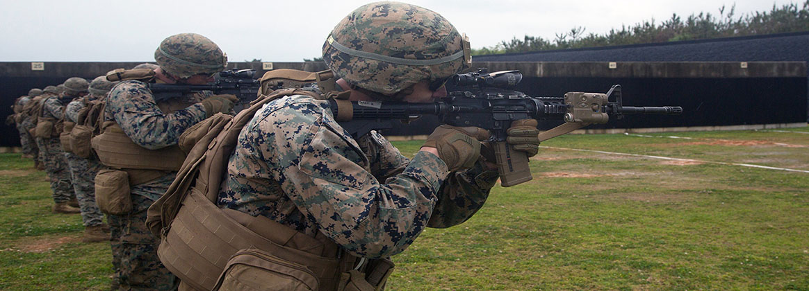 CAMP HANSEN, OKINAWI, Japan (April 16, 2019) - Marines with Weapons Company, 1st Battalion, 3rd Marine Regiment, currently assigned to 3rd Marine Division, participate in a combat marksmanship range on Camp Hansen, Okinawa, Japan, April 16, 2019. Marines train in combat marksmanship to increase overall troop lethality and readiness.