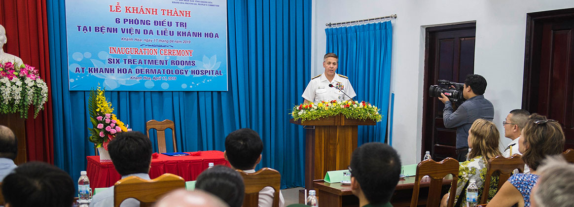 CAM RANH, Vietnam (April 17, 2019) – Commander, U.S. Indo-Pacific Command Adm. Phil Davidson provides remarks at the Khanh Hoa Dermatology Hospital as part of a ribbon cutting ceremony in Cam Ranh.  Davidson is in Vietnam to meet with regional leaders and counterparts for the first time as USINDOPACOM commander.