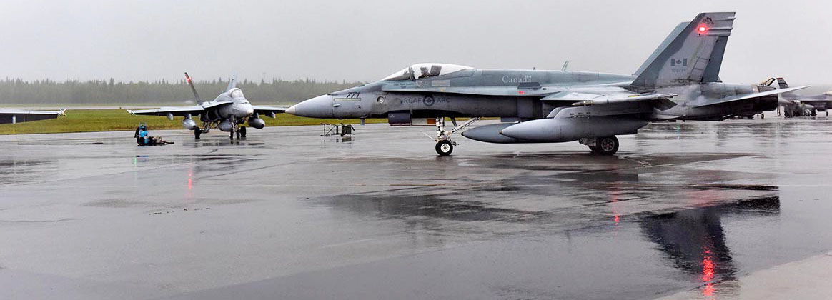 EIELSON AIR FORCE BASE, Alaska (Aug. 13, 2019) - A Royal Canadian Air Force CF-18 Hornet taxis during RED FLAG-Alaska (RF-A) 19-3 at Eielson Air Force Base, Alaska, Aug. 13, 2019. RF-A 19-3 included participants from the Royal Australian Air Force, the Royal Canadian Air Force and the United Kingdom's Royal Air Force.