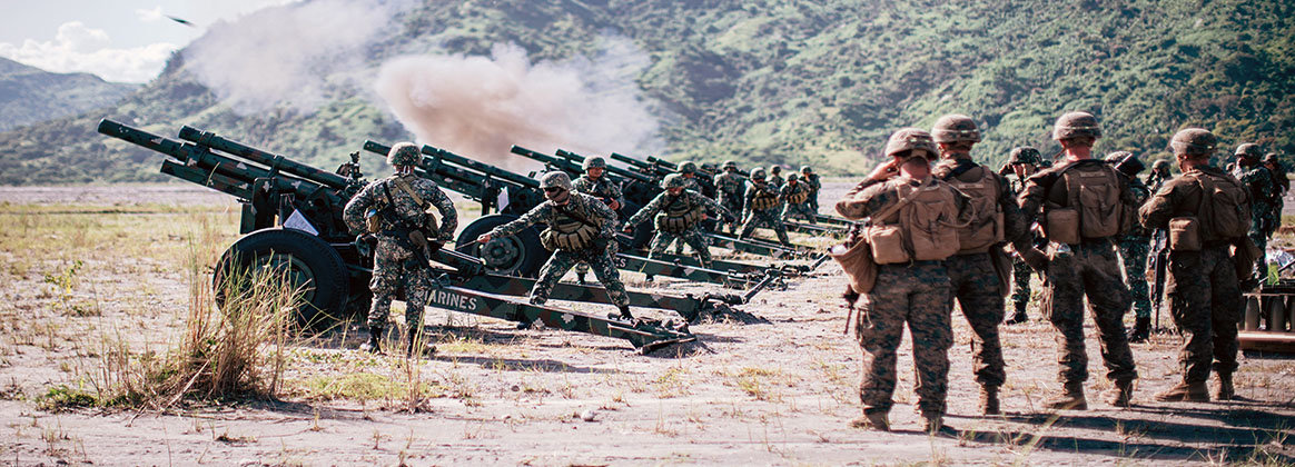 COLONEL ERNESTO RAVINA AIR BASE, Philippines (Oct. 15, 2019) - U.S. Marines with Alpha Battery, Battalion Landing Team 3/5, 11th Marine Expeditionary Unit, observe Philippine Marines with the 17th Marine Corps Field Artillery Battalion fire M102 105 mm howitzers during exercise KAMANDAG 3 at Colonel Ernesto Ravina Air Base, Philippines, Oct. 15, 2019. U.S. forces have been partnering with the Philippines and Japan for many years, working together in many areas to uphold our shared goals of peace, stability and prosperity in the Indo-Pacific region and beyond.