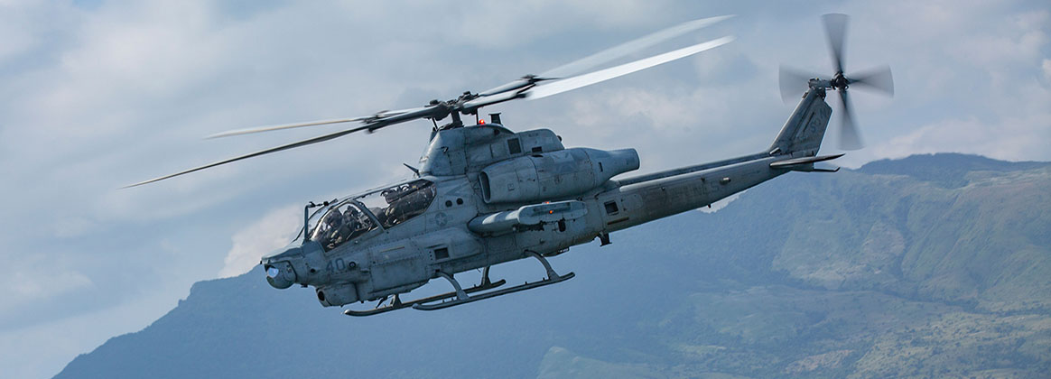 SUBIC BAY, Philippines (Oct. 17, 2019) - An AH-1Z Viper helicopter with Marine Light Attack Helicopter Squadron (HMLA) 169 supports U.S. Marines and service members from the Armed Forces of the Philippines during the final exercise of KAMANDAG 3 at Colonel Ernesto P. Ravina Air Base, Philippines, Oct. 17, 2019.