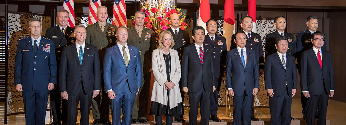 TOKYO, Japan (Jan. 19, 2020) - Japanese Prime Minister Shinzo Abe, center right, stands alongside Mary Jean Eisenhower, center left, and senior official and military leaders of U.S. and Japan at a reception ceremony commemorating the 60th anniversary of the U.S-Japan Treaty of Mutual Cooperation and Security. The treaty was signed by the governments of then U.S. President Dwight D. Eisenhower, grandfather to Mary Jean Eisenhower, and then Japanese Prime Minister Nobusuke Kishi, grandfather of current Prime Minister Shinzo Abe.
