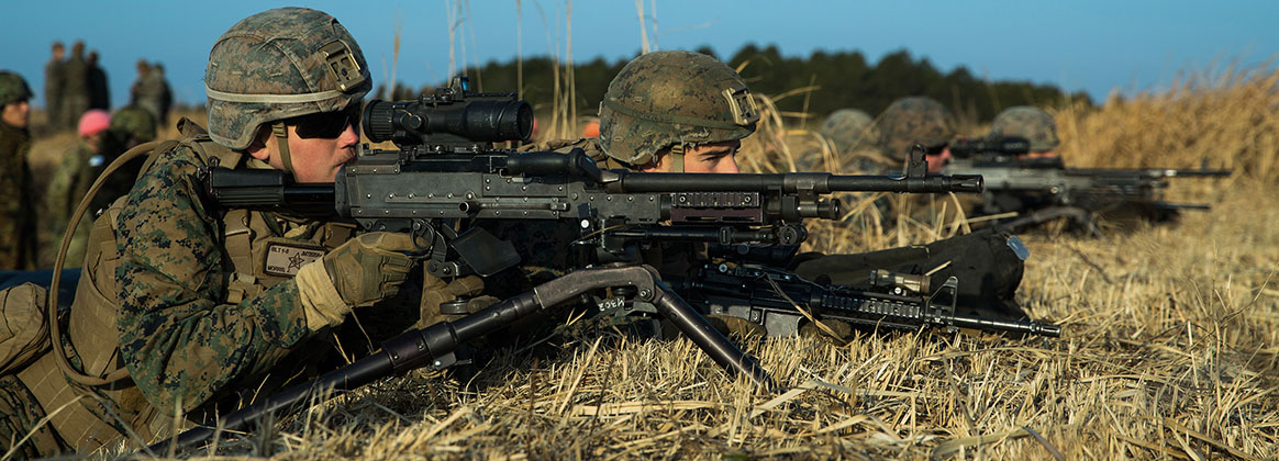 CAMP OYANOHARA, KUMAMOTO, Japan (Jan. 22, 2020) -  U.S. Marines with Battalion Landing Team 1st Battalion, 5th Marines, 31st Marine Expeditionary Unit, fire an M 240B machine gun on a live fire exercise alongside Japan Ground Self-Defense Force Service Members with the 12th Infantry Regiment, 8th Division, Western Army, during Exercise Forest Light Western Army at Camp Oyanohara, Kumamoto, Japan, Jan. 21, 2020.  The exercise consists of field training events including basic infantry skills, vertical assaults integrated with MV-22B Osprey flight operations, and combined-arms, and enhances the collective defense capabilities of the U.S.-Japanese alliance.