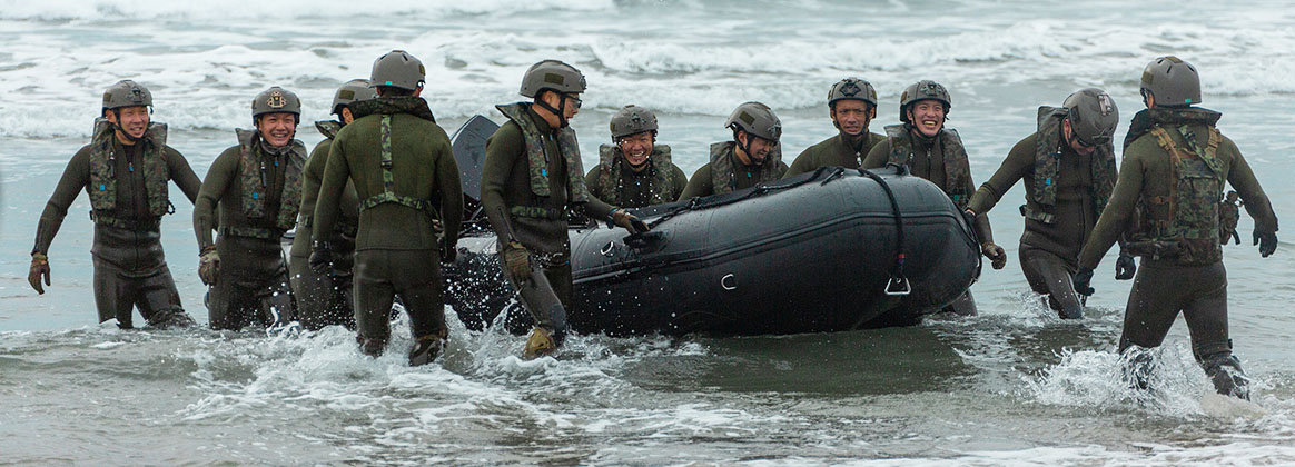CAMP PENDLETON, CA (Jan. 21, 2020) - Japan Ground Self-Defense Force soldiers with Reconnaissance Battalion, Amphibious Rapid Deployment Brigade, recover their combat rubber raiding craft after broaching as part of Exercise Iron Fist 2020 on Marine Corps Base Camp Pendleton, California, Jan. 20. Exercise Iron Fist exemplifies the spirit of trust and cooperation between the US and Japan Ground Self-Defense Force.