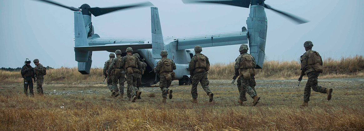 CAMP OYANOHARA, KUMAMOTO, Japan (Jan. 22, 2020) - U.S. Marines with Battalion Landing Team 1st Battalion, 5th Marines, 31st Marine Expeditionary Unit, run to an MV-22B Osprey during Exercise Forest Light Western Army at Camp Oyanohara, Kumamoto, Japan, Jan. 22, 2020.  The exercise consists of field training events including basic infantry skills, vertical assaults integrated with MV-22B Osprey flight operations, and combined-arms, and enhances the collective defense capabilities of the U.S.-Japanese alliance.  The 31st MEU, the Marine Corps' only continuously forward-deployed MEU, provides a flexible and lethal force ready to perform a wide range of military operations as the premier crisis response force in the Indo-Pacific region.