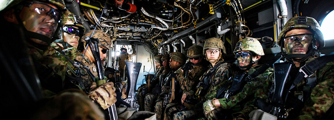 CAMP OYANOHARA, KUMAMOTO, Japan (Jan. 23, 2020) -  U.S. Marines with Battalion Landing Team 1st Battalion, 5th Marines, 31st MEU, and Japan Ground Self-Defense Force (JGSDF)  Service Members with the 12th Infantry Regiment, 8th Division, Western Army sit aboard an MV-22B Osprey with Marine Medium Tiltrotor Squadron 265 (Reinforced), 1st Marine Aircraft Wing currently assigned to the 31st Marine Expeditionary Unit, while conducting bilateral vertical assault training during exercise Forest Light Western Army at Camp Oyanohara, Kumamoto, Japan, Jan. 23, 2020