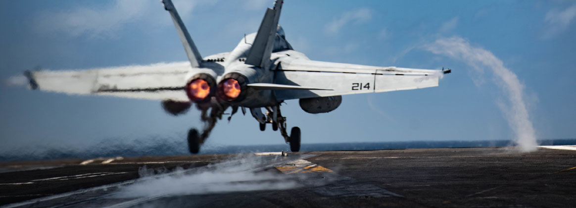 INDIAN OCEAN (July 13, 2020) An F/A-18E Super Hornet attached to the Royal Maces of Strike Fighter Squadron (VFA) 27 takes off from the flight deck of the Navy's only forward-deployed aircraft carrier USS Ronald Reagan (CVN 76). Ronald Reagan, the flagship of Carrier Strike Group 5, provides a combat-ready force that protects and defends the United States, as well as the collective maritime interests of its allies and partners in the Indo-Pacific region.