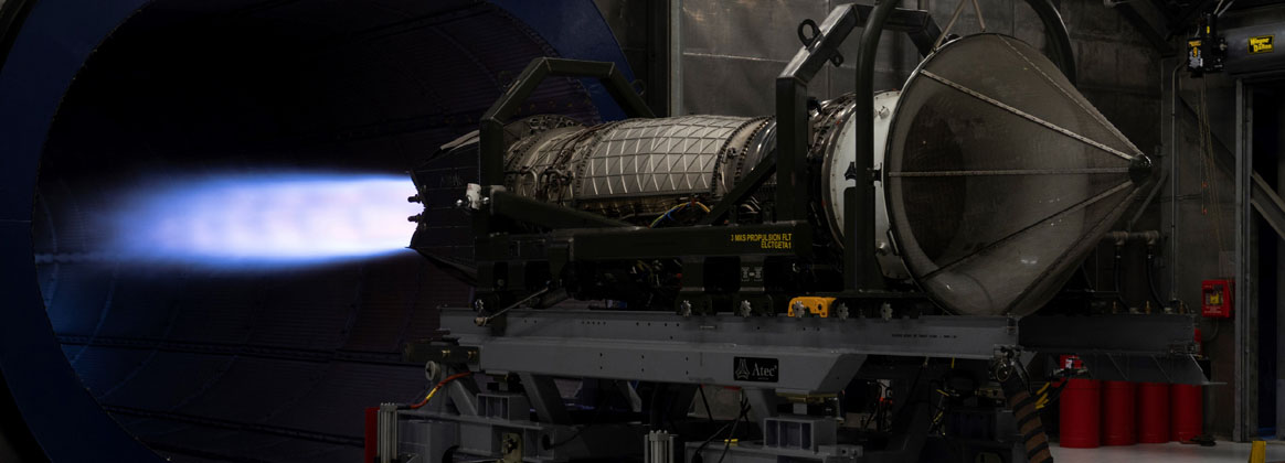 JOINT BASE ELMENDORF-RICHARDSON, Alaska (Sept. 10, 2020) - A Pratt and Whitney F119 Jet Engine goes through an operational test to ensure the engine meets all test parameters and can safely be installed in an F-22 aircraft at Joint Base Elmendorf-Richardson, Alaska, Sept. 10, 2020. The F-22 Raptors fleet at JBER recently went through a Time Compliance Technical Order replacing older blades in the low-pressure turbines with a newer design.