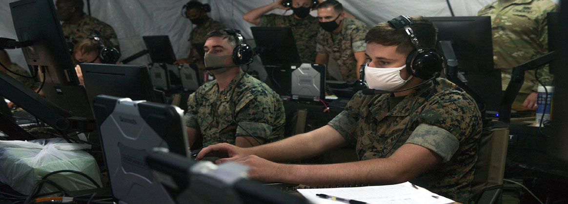 """KIN, OKINAWA, Japan (Sept. 16, 2020) - U.S. Marines with 12th Marine Regiment, 3rd Marine Division, practice coordinating air and surface fires during Thunder Field Training Exercise at Camp Hansen Okinawa, Japan, Sept. 16, 2020. """"Thunder FTX is a Marine Expeditionary Force-level interoperability exercise held to test command and control systems while focusing on fire support coordination,"""" said Col. Michael Roach, Regimental Commander, 12th Marine Regiment. This capability is critical in preparing for future conflicts as forces will operate in a distributed environment."""