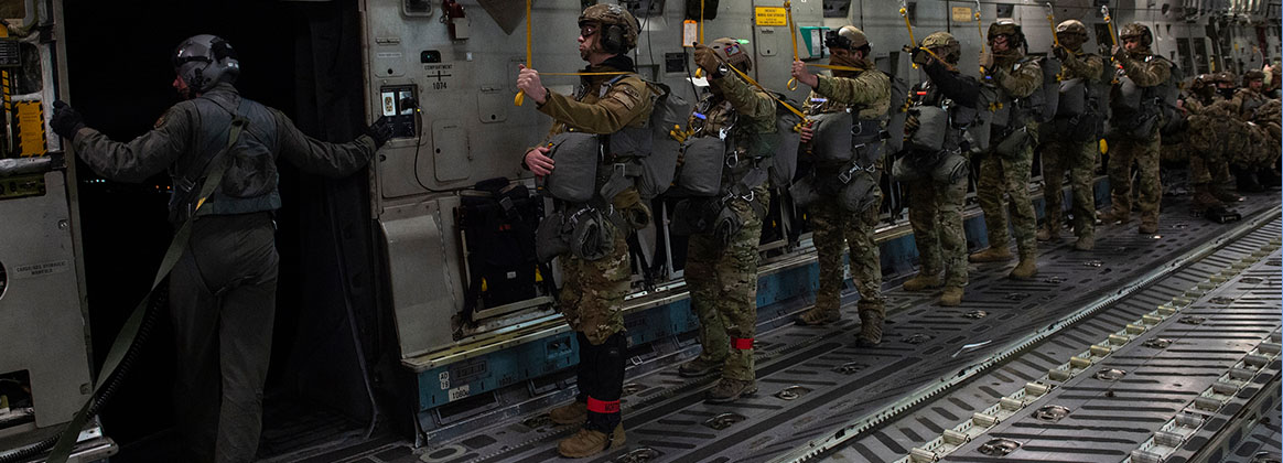 JOINT BASE ELMENDORF-RICHARDSON, Alaska (Oct. 20, 2020) - Special warfare Airmen assigned to the 3rd Air Support Operations Squadron prepare to jump from a U.S. Air Force C-17 Globemaster III aircraft assigned to the 144th Airlift Squadron during nighttime airborne training over Malemute Drop Zone on Joint Base Elmendorf-Richardson, Alaska, Oct. 20, 2020. The 3rd ASOS conducted airborne operation training to demonstrate short-notice mission readiness in the Arctic environment.