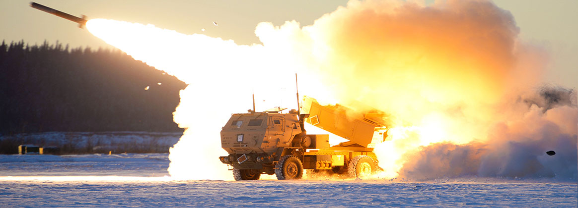 EIELSON AIR FORCE BASE, Alaska (Oct. 22, 2020) - A U.S. Army M142 High Mobility Artillery Rocket Systems (HIMARS) launches ordnance during RED FLAG-Alaska 21-1 at Fort Greely, Alaska, Oct. 22, 2020. This exercise focuses on rapid infiltration and exfiltration to minimize the chance of a counterattack.
