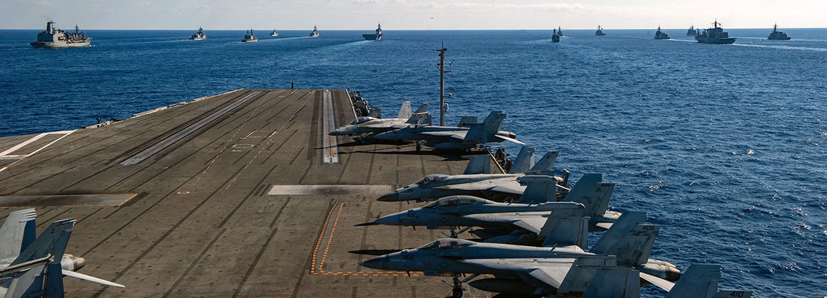PHILIPPINE SEA (Oct. 26, 2020) - U.S. Navy ships assigned to Ronald Reagan Carrier Strike Group joined ships of Japan Maritime Self-Defense Force (JMSDF) Escort Flotilla 1, Escort Flotilla 4, and the Royal Canadian Navy, in formation during Keen Sword 21. Keen Sword is an example of the strength of U.S.-Japan Alliance, the foundation of peace and security in the Indo-Pacific region for more than 60 years. The relationships built and maintained during these events are critical to our shared capability to respond to contingencies at a moment's notice.