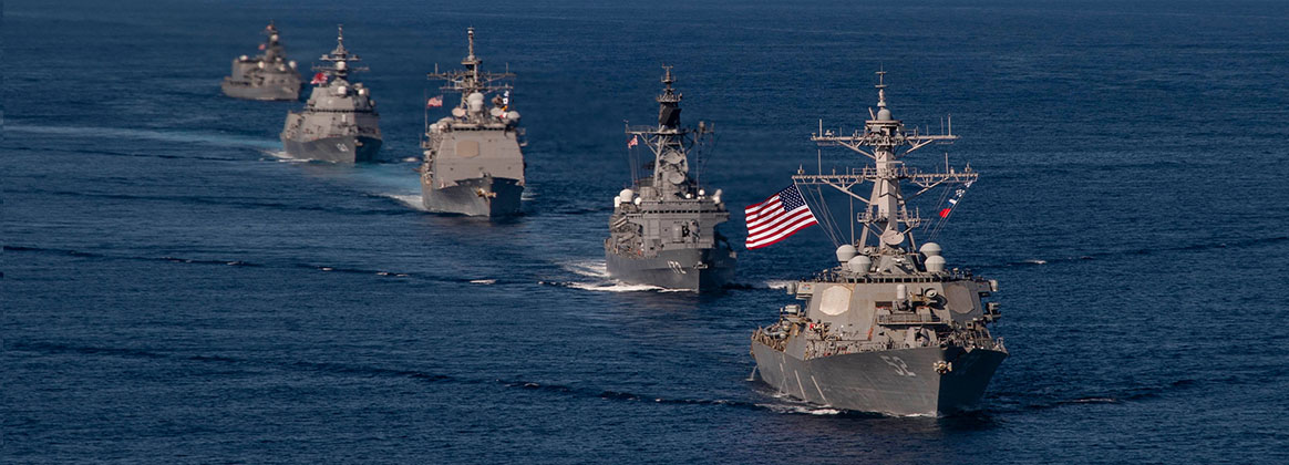 PHILIPPINE SEA (Oct. 26, 2020) - U.S. Navy ships assigned to Ronald Reagan Carrier Strike Group join ships of Japan Maritime Self-Defense Force (JMSDF) Escort Flotilla 1, Escort Flotilla 4, and the Royal Canadian Navy, in formation during Keen Sword 21. Keen Sword is an example of the strength of U.S.-Japan Alliance, the foundation of peace and security in the Indo-Pacific region for almost 60 years. The relationships built and maintained during these events are critical to our shared capability to respond to contingencies at a moment's notice.