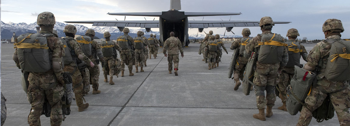 JOINT BASE ELMENDORF-RICHARDSON, Alaska (May 11, 2021) - Army paratroopers from the 4th Infantry Brigade Combat Team (Airborne), 25th Infantry Division, U.S. Army Alaska, board an Air Force C-130J Super Hercules prior to departing for a joint forced-entry operation during Northern Edge 21 at Joint Base Elmendorf-Richardson, Alaska, May 11, 2021.
