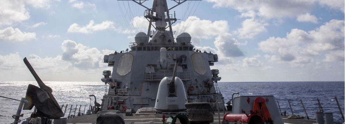 TAIWAN STRAIT (Sept. 17, 2021) - Arleigh-burke class guided missile-destroyer USS Barry (DDG 52) transits the Taiwan Strait during a routine transit, Sept. 17. Barry is forward-deployed to the 7th Fleet area of operations in support of a free and open Indo-Pacific.