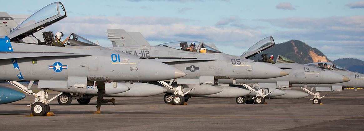 MCAS IWAKUNI, YAMAGUCHI, Japan (Sept. 18, 2021) -  U.S. Marine Corps F/A-18C Hornet pilots with Marine Fighter Attack Squadron (VMFA) 112 prepare to disembark F/A-18C Hornet aircraft at Marine Corps Air Station (MCAS) Iwakuni, Japan, Sept. 18, 2021. Marines with VMFA-112 deployed to MCAS Iwakuni as part of the unit deployment program to increase operational readiness and to help ensure a free and open Indo-Pacific.