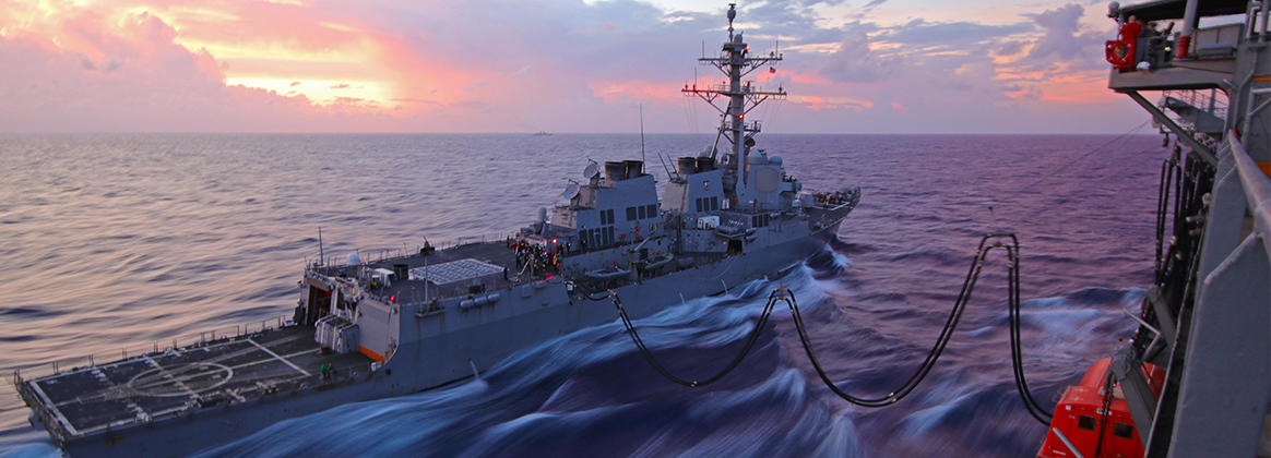PHILIPPINE SEA (June 12, 2019) Arleigh Burke class guided-missile destroyer USS McCampbell (DDG 85) takes fuel alongside the fleet replenishment oiler USNS John Ericsson (T-AO 194) during a replenishment at sea. McCampbell is forward-deployed to the U.S. 7th Fleet area of operation in support of security and stability in the Indo-Pacific region. 190612-Z-VQ827-1001